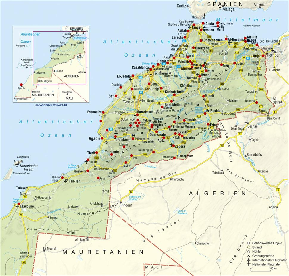 Marocco Cartina Geografica Fisica.Mappa Distanze